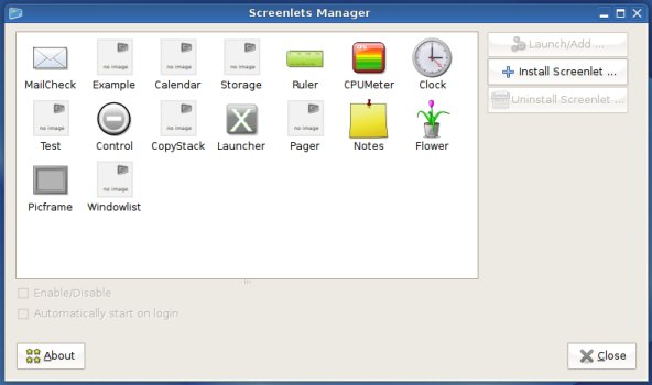 Screenlets Manager