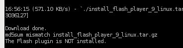 Error installing Flash