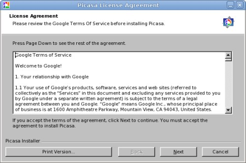 Picasa licence agreement
