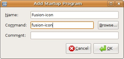 adding Fusion-icon to startup programs