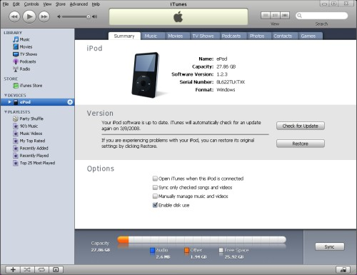 iPod Synced with iTunes
