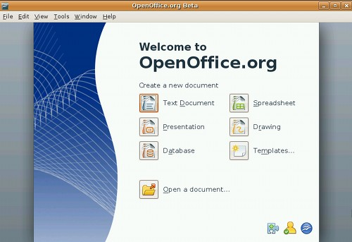 OpenOffice.org 3 Beta start center
