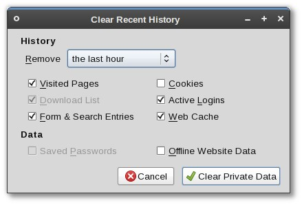 Clear Recent History dialog