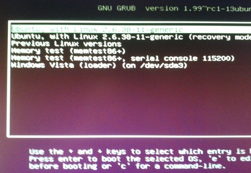 a GRUB menu with Ubuntu and Windows